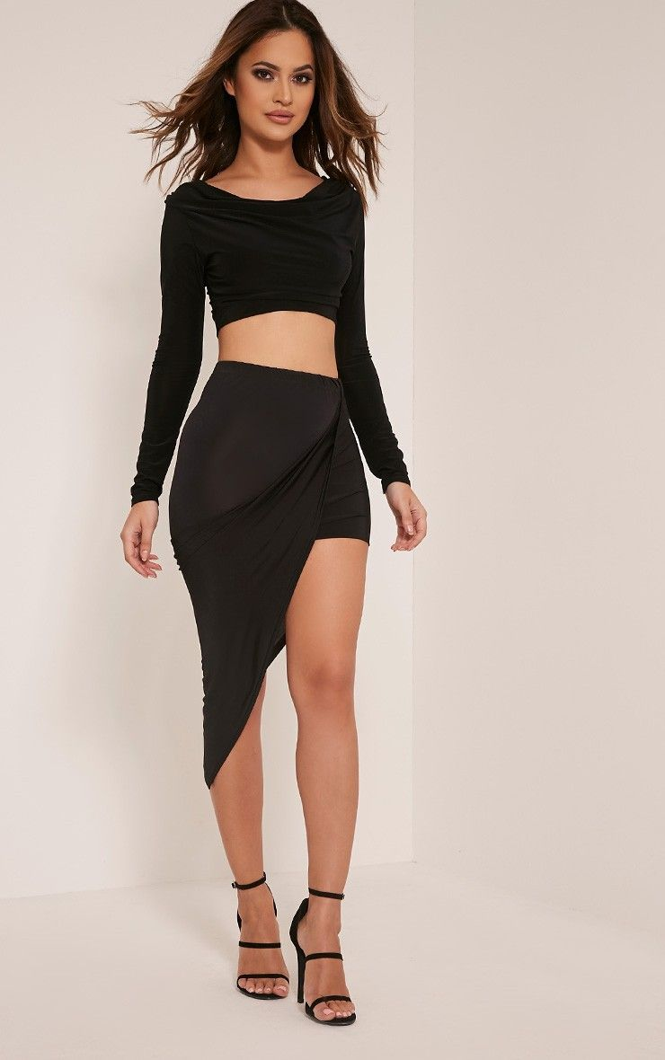 35519dcf2f #PrettyLittleThing #Dress Alba Black Slinky Drape Skirt-14, Black at  #PrettyLittleThing