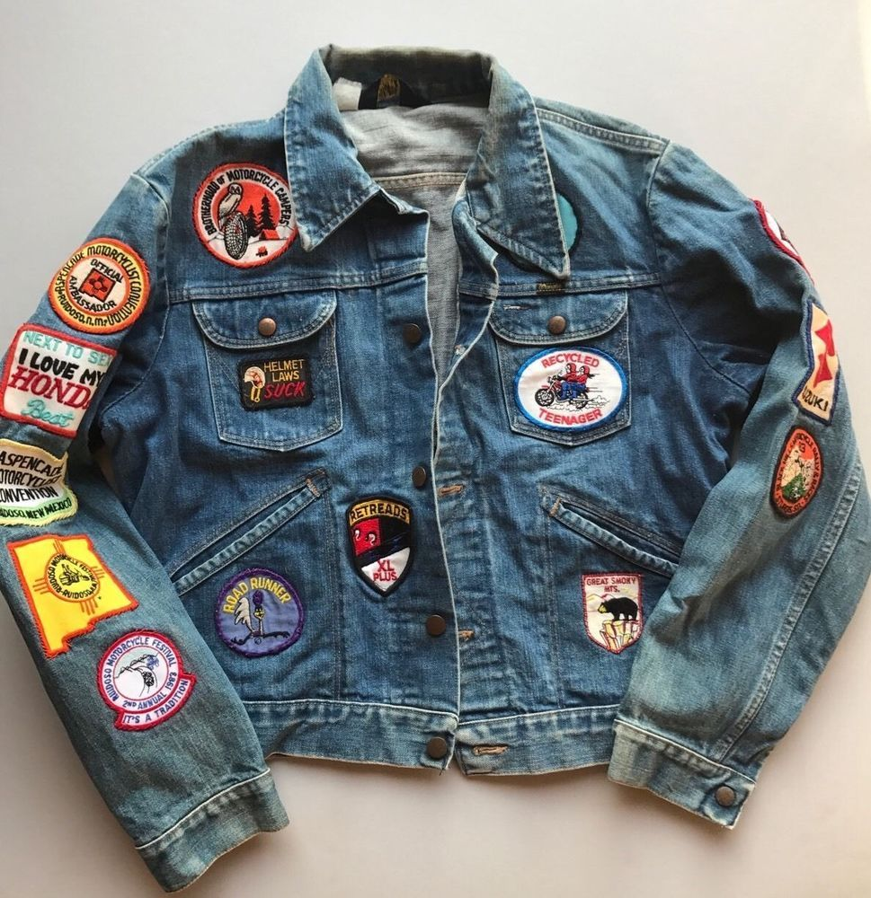 Vintage Wrangler Jean Jacket With Motorcycle Patches Denim