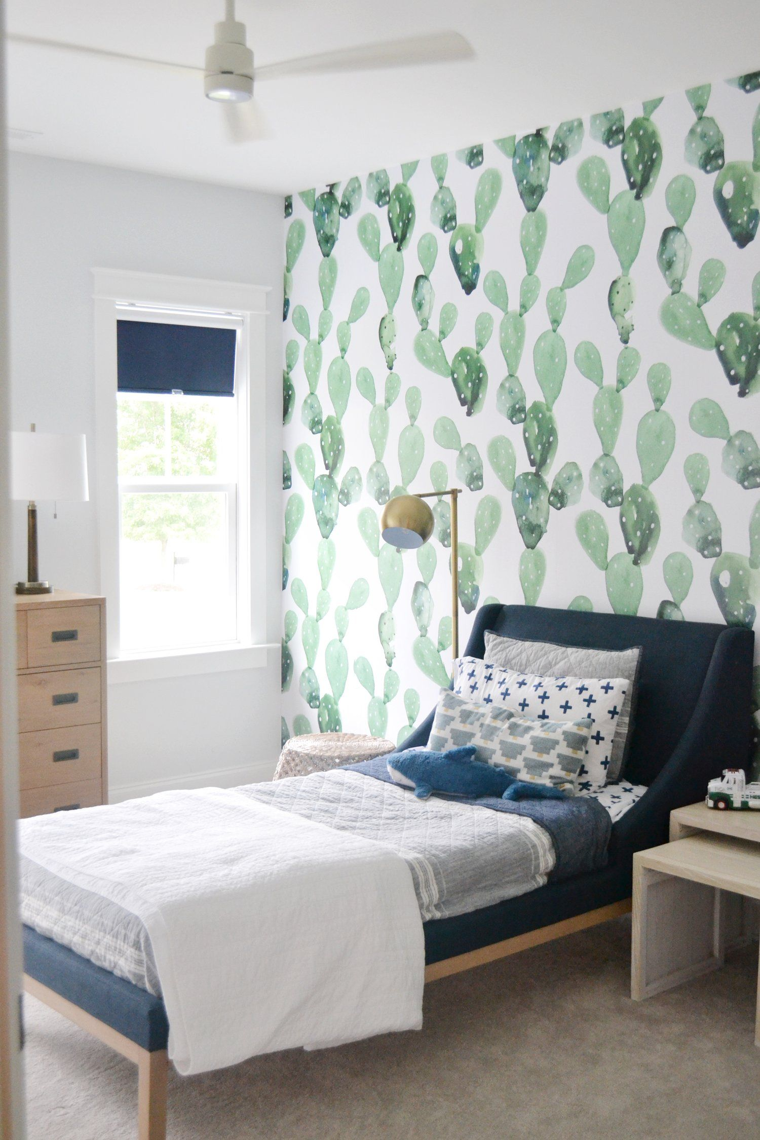 Cactus Removable Wallpaper In A Boys Room Modern Kids Bedroom