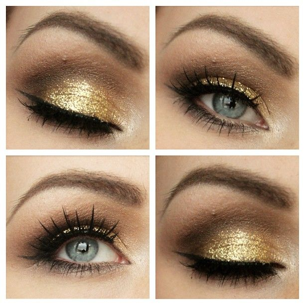Having a hard time to decide how your Christmas or New Year's Eve look should look like? This is a perfect look for you! I've used metal mania palette (goldish color) on the lid + some white shimmer on the tear duct. 88 warm palette in the crease (different shades of brown). Gold glitter on top of the lid and finish it off with eyeliner and some fancy lashes and you are done and ready to shine brightest of all  #mua #makeup #makeupmob #makeuplook #makeupmafia #makeupaddict #makeupar...
