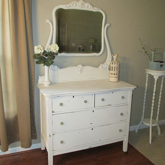 Distressed Antique White Vanity Antique by TimeandTimeAgainCo