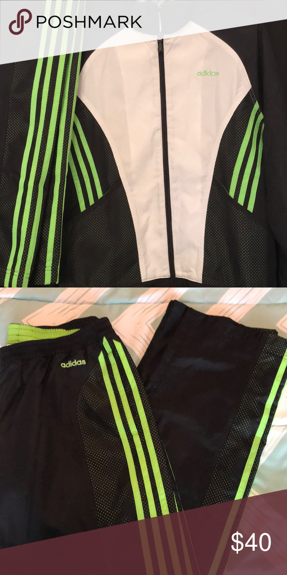 5260617a ADORABLE Adidas 2 pc track suit set So cute! Adidas 2 piece track suit set.  Coat is white, black and bright lime green. Pants are black with lime green  ...