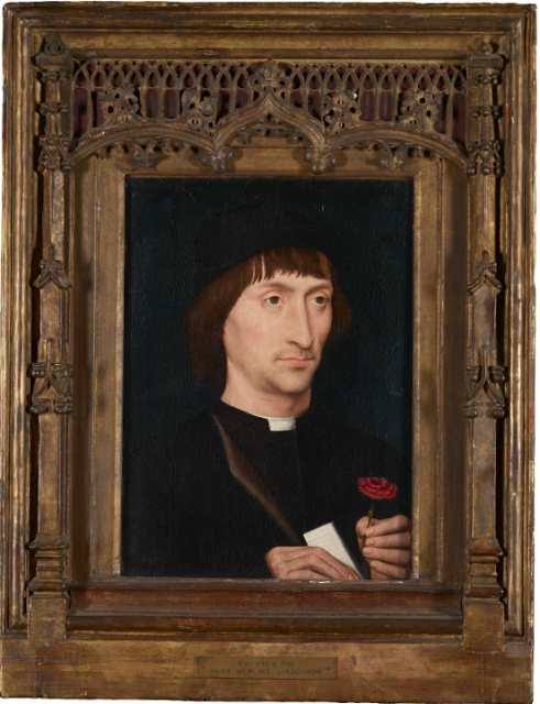 MEMLINC Hans: Flemish school (1435-1494) -  Portrait of a Man with a Pink, ca. 1475, Tempera on panel, 10 3/4 x 15 inches (Purchased by Pierpont Morgan, 1907).