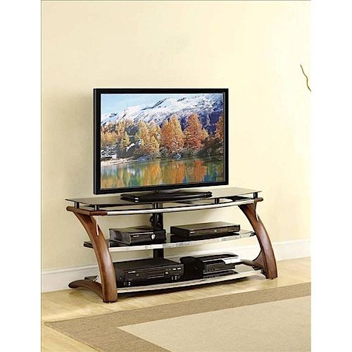 Aarons Whalen 54 Stand Walnut Glass Tv Console Whalen Tv Stand Apartment Necessities Entertainment Center