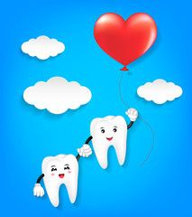 Download Tooth character with red heart balloon. Couple in love ...