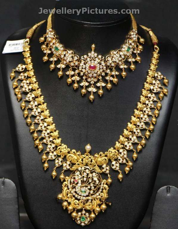 22 carat gold south indian wedding jewellery sets with new diamond