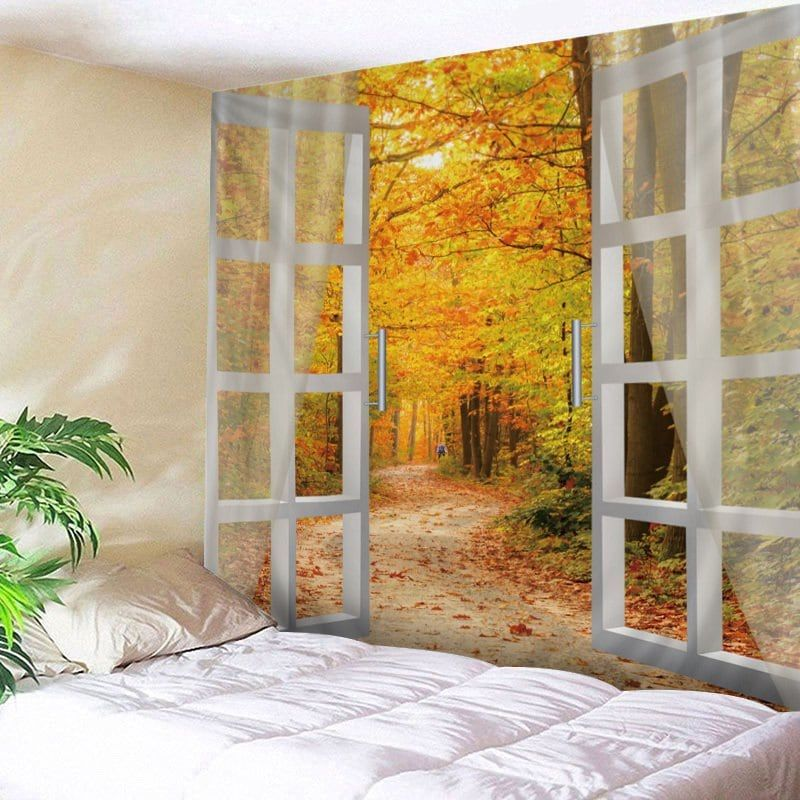 window maple forest avenue print tapestry wall hanging art on walls coveralls website id=82368