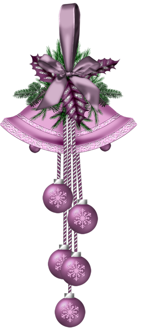 CHRISTMAS PURPLE BELLS AND ORNAMENTS CLIP ART
