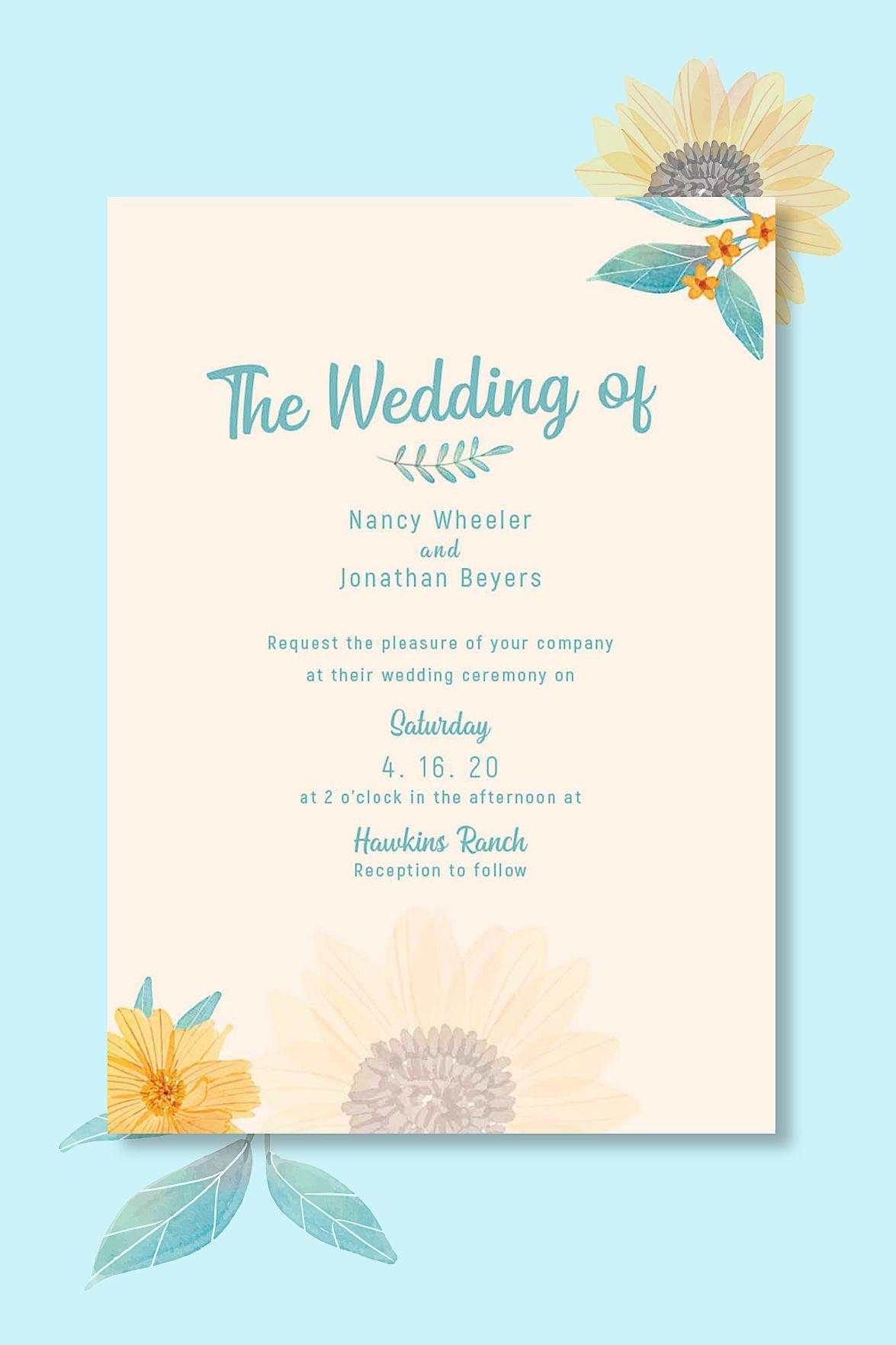 Sunflower wedding invitation template printable, save the