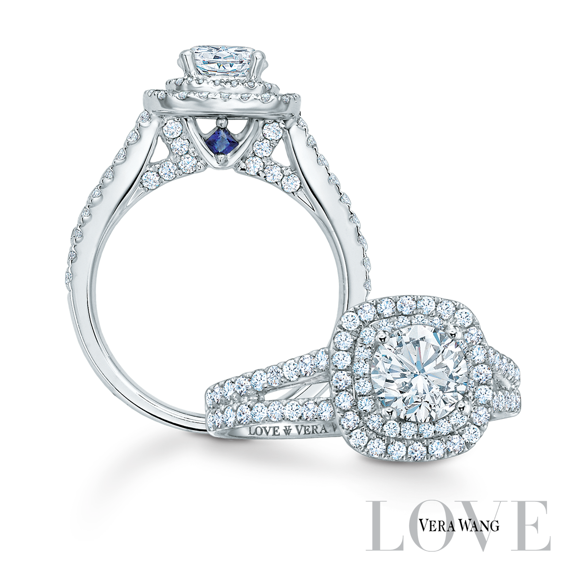 The Vera Wang Love Collection Exclusively At Zales Each Timeless Design Features Blue Sapph Vera Wang Wedding Rings Wedding Ring Sets Wedding Rings Engagement