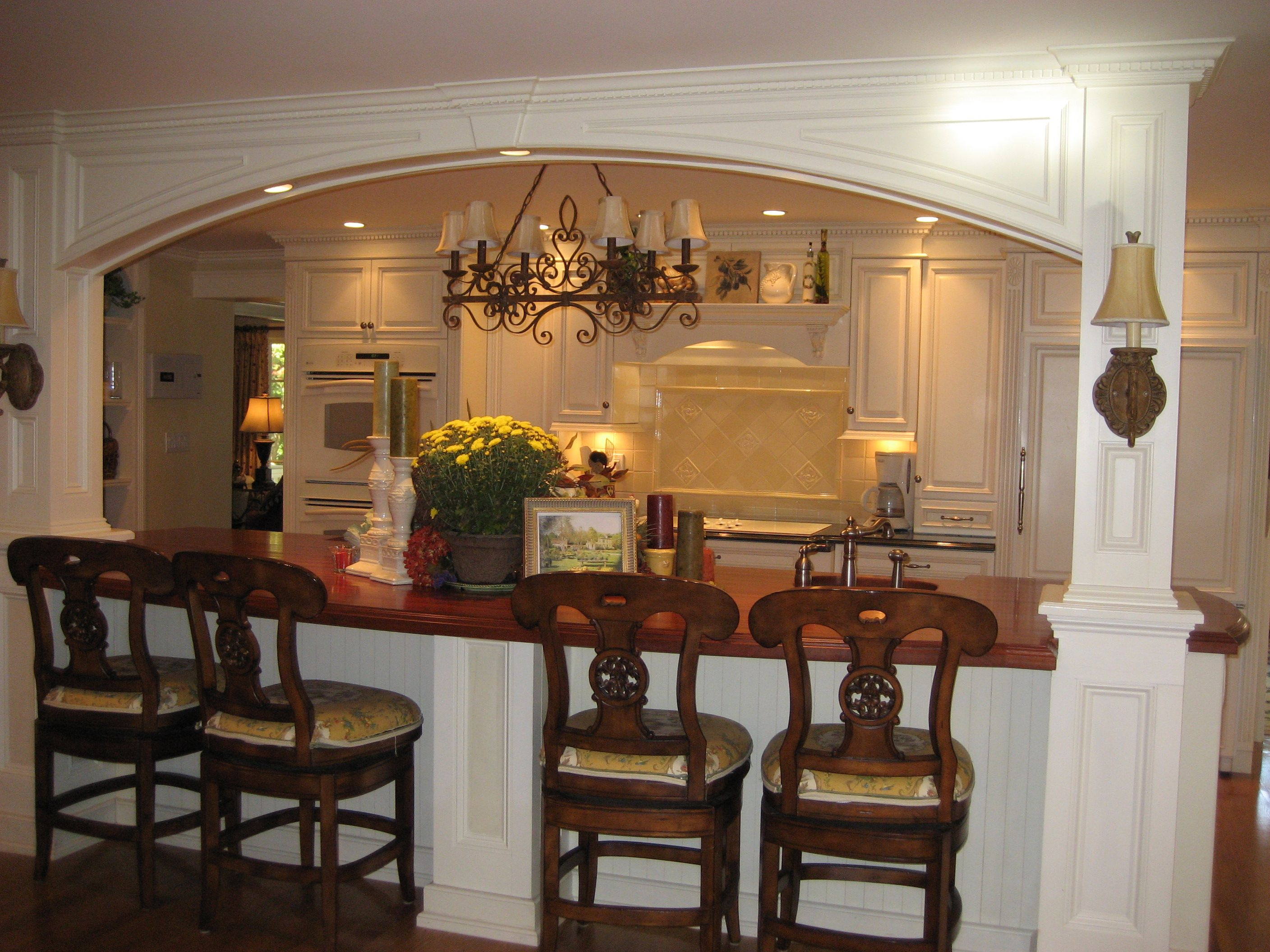 kitchen island incorporating lally columns morris interiors