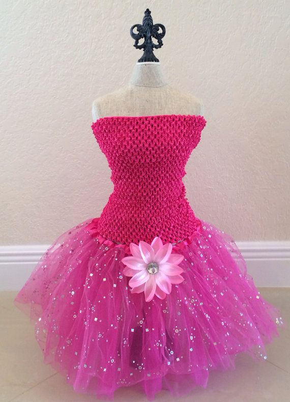Pink Tutu Set Pink Tut Dress Princess Tutu Dress by partiesandfun, $21.00