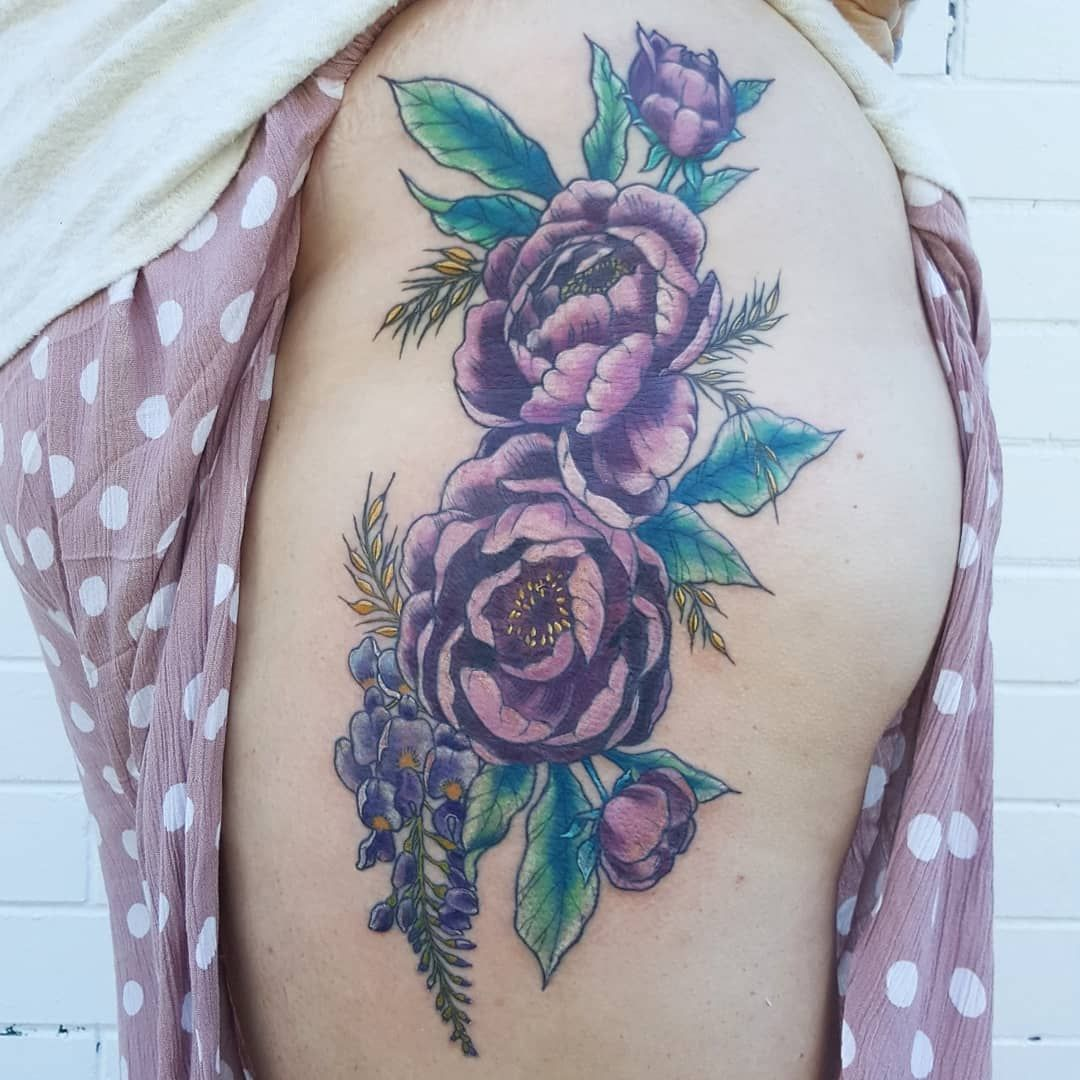 Beautiful Muted Peony Flower From Zoe Absolute Tattoo Kingscliff
