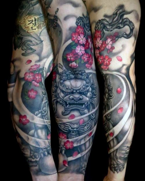 100 Cherry Blossom Tattoo Designs For Men Floral Ink Ideas Foo Dog Tattoo Sleeve Tattoos Dog Tattoos