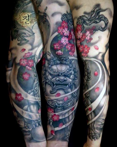 Top 101 Cherry Blossom Tattoo Ideas 2020 Inspiration Guide Foo Dog Tattoo Tattoos Sleeve Tattoos