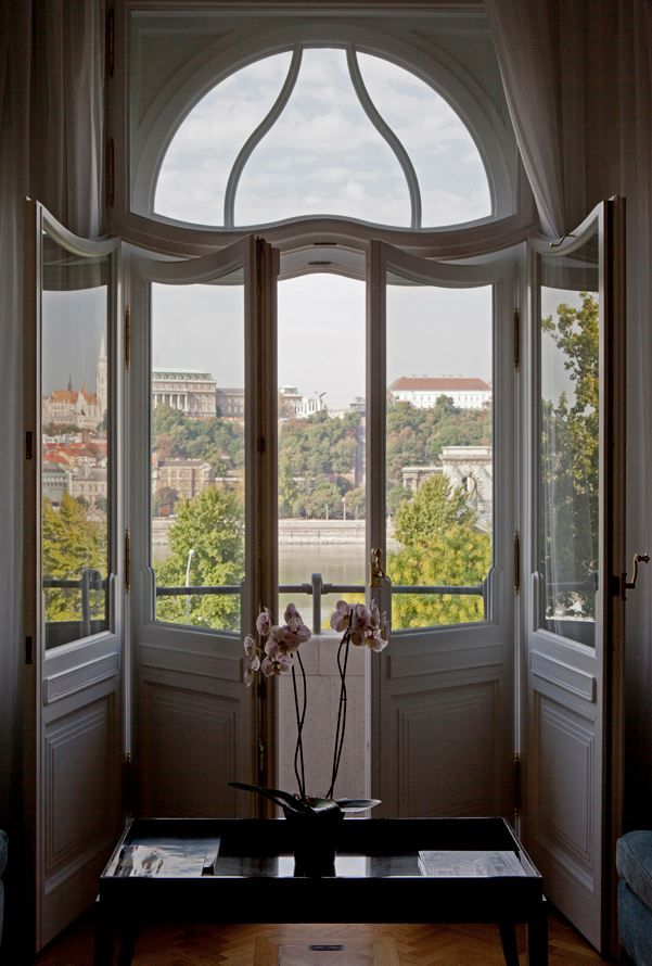 Glass Doors Leading Out To The Balcony At Gresham Palace Budapest Hungary