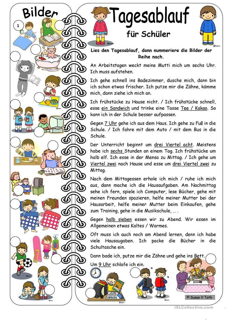 Tagesablauf für Schüler mit Bildern * mit Lösung Arbeitsblatt ...