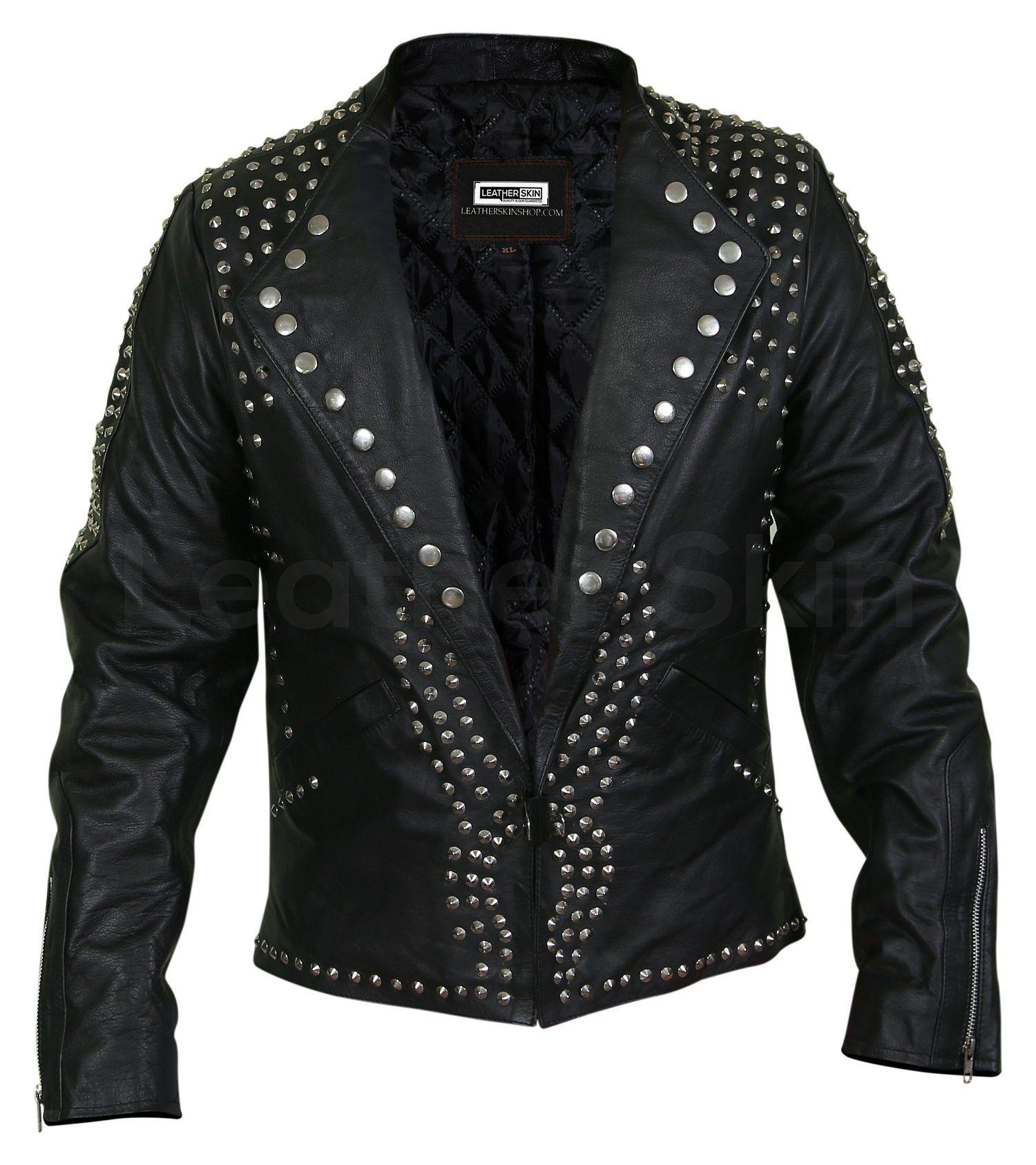 Men Black Jacket With Cone Spikes Stud On Shoulder Mens Black Jacket Best Leather Jackets Leather Jacket Black [ 1686 x 1500 Pixel ]