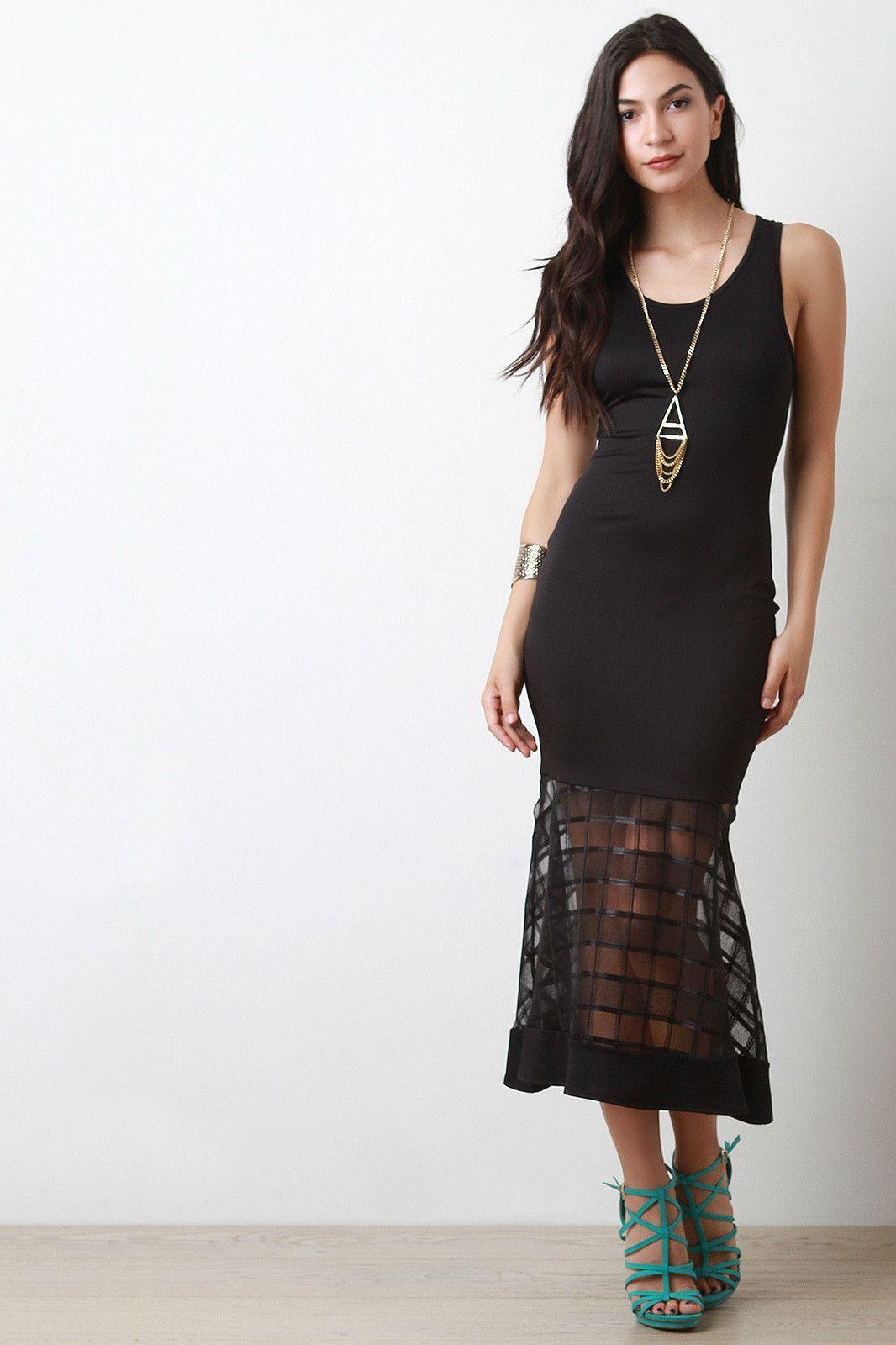 Grid mesh peplum maxi dress trendy maxi dresses pinterest