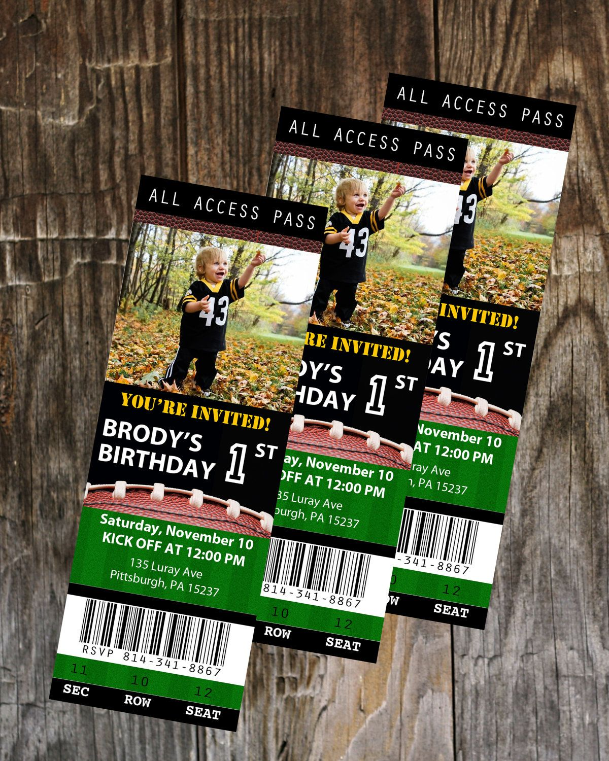 football ticket birthday invitation template  instant download