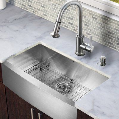 Vigo 30 Inch Farmhouse A Single Bowl 16 Gauge Stainless Steel Kitchen Sink With Astor Faucet Grid Strainer And Soap Dispenser