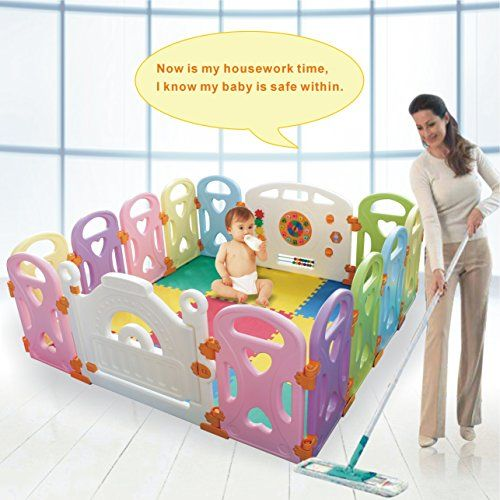 6 Side Baby Playpen Activities Play Pen Kids Playard Room Divider Outdoor Travel Baby Playpens & Play Yards