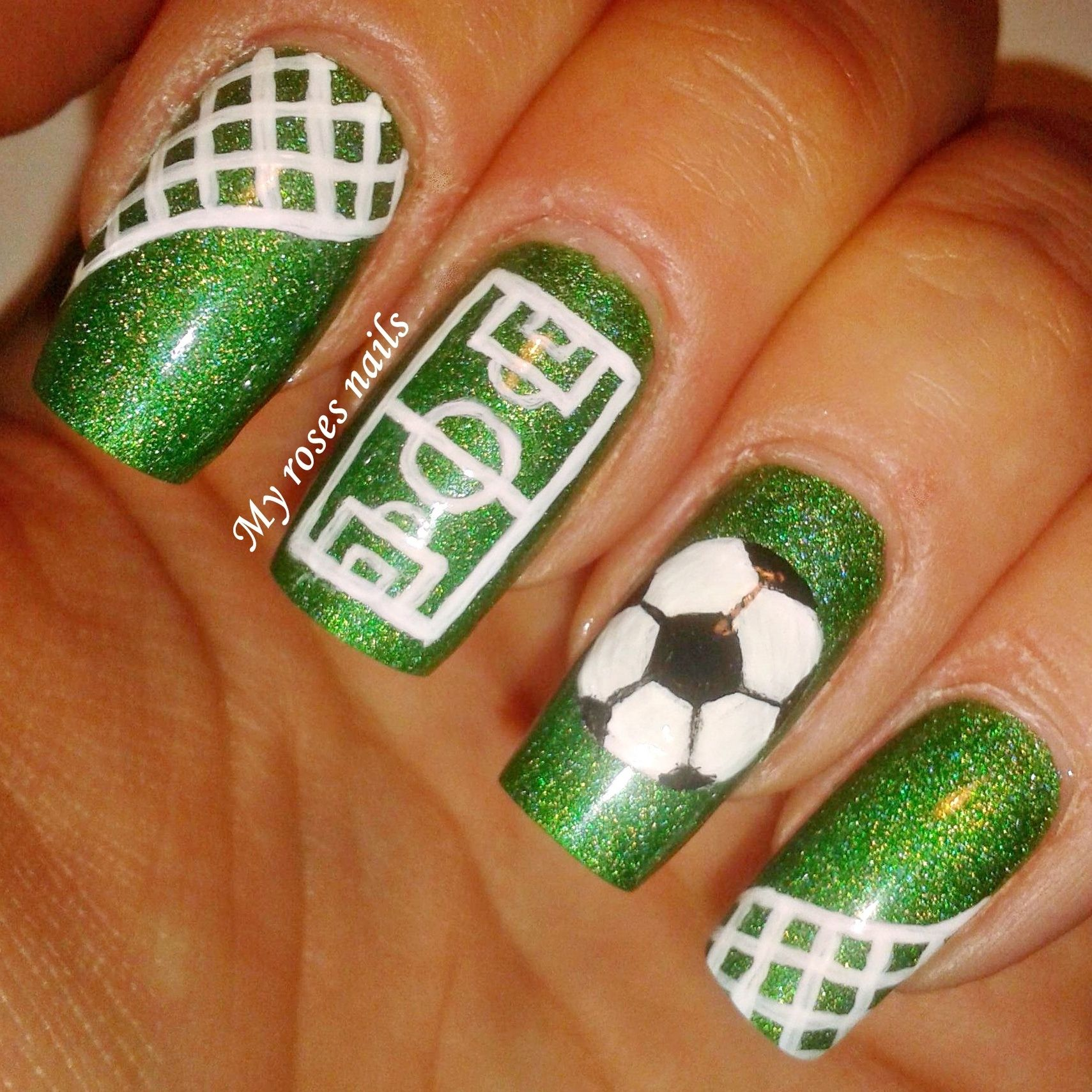 Soccer Nail Art My Nails Art Pinterest Nails Nail Art And