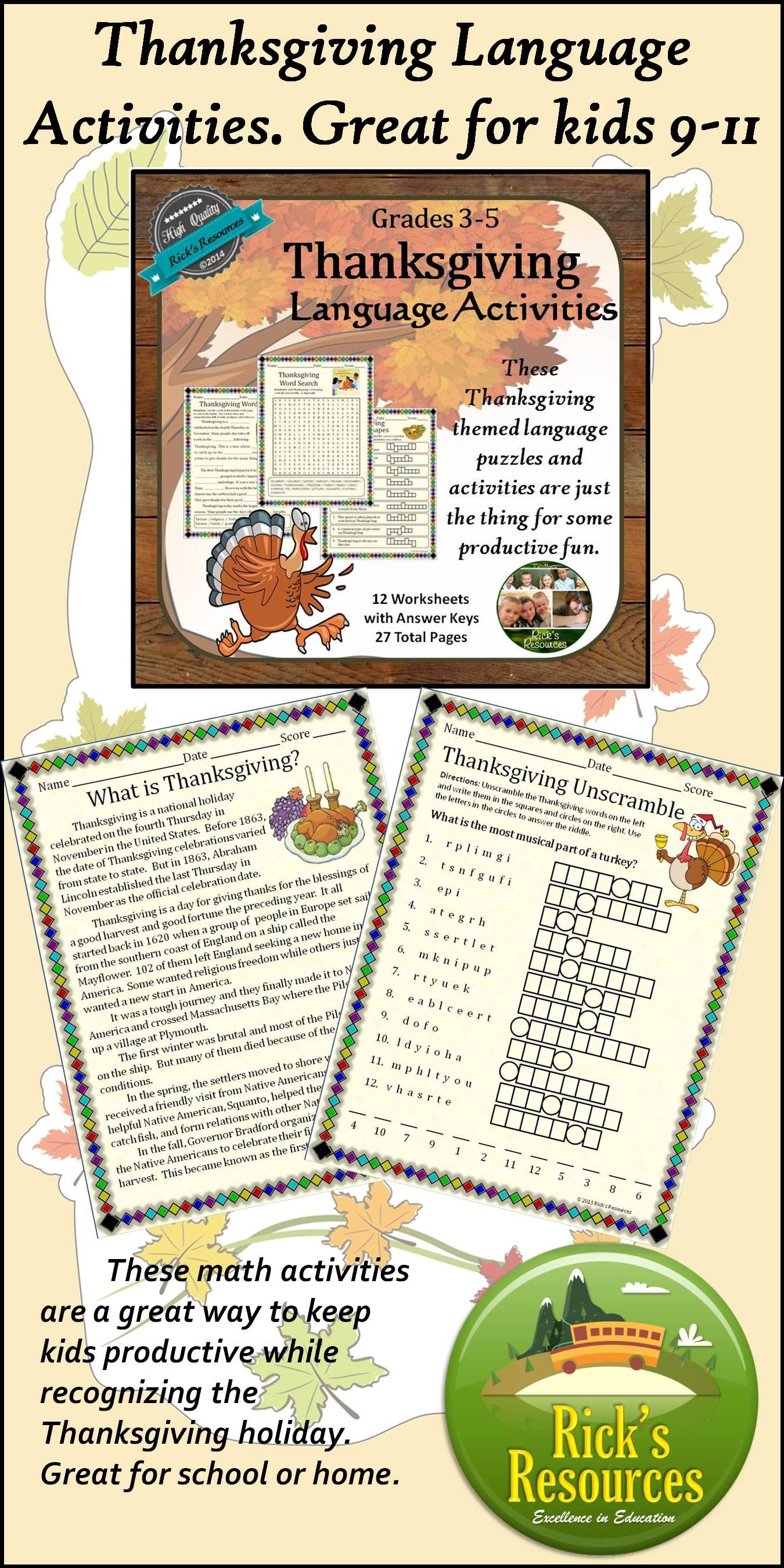 Thanksgiving Language Activities Print and Digital