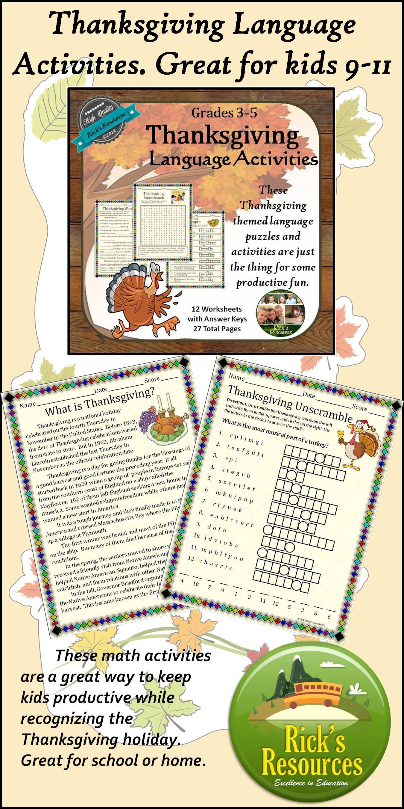 Thanksgiving Language Activities Print and Digital