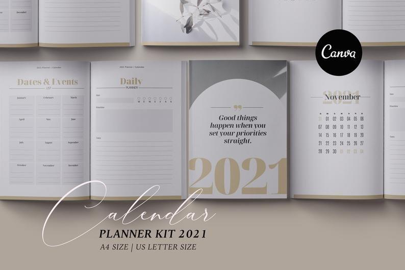 2021 Canva Planner template Calendar Canva Template Daily ...