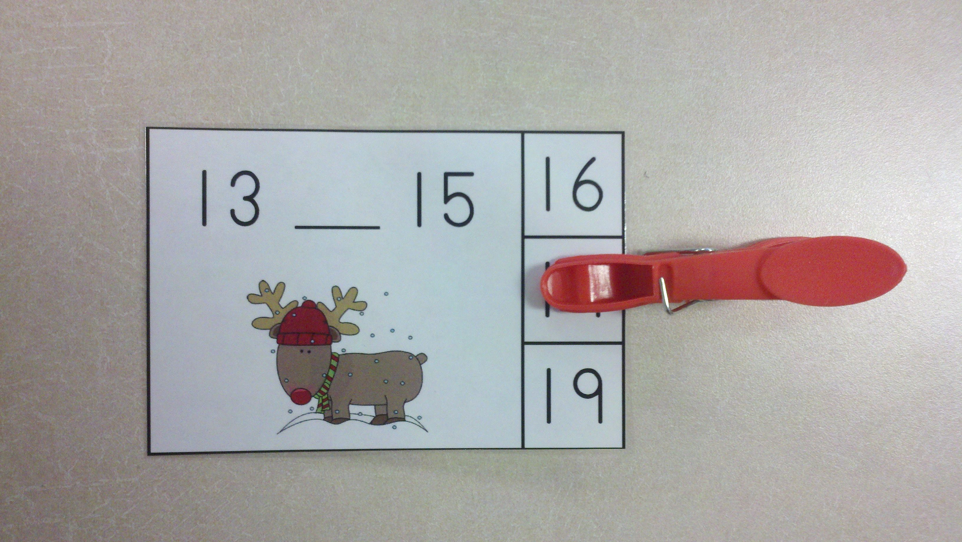 Christmas Math Centers Rudolph Nose Numerals To 20