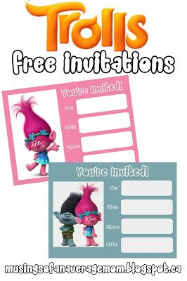 Trolls Movie Free Printable Party Invitations
