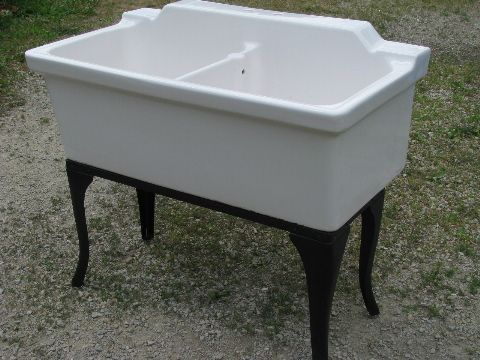 Want It Old White Ironstone Porcelain Farm Sink With Steel Cabriole Legs This Old Double Antique Farmhouse Sink Laundry Room Inspiration Laundry Room Sink