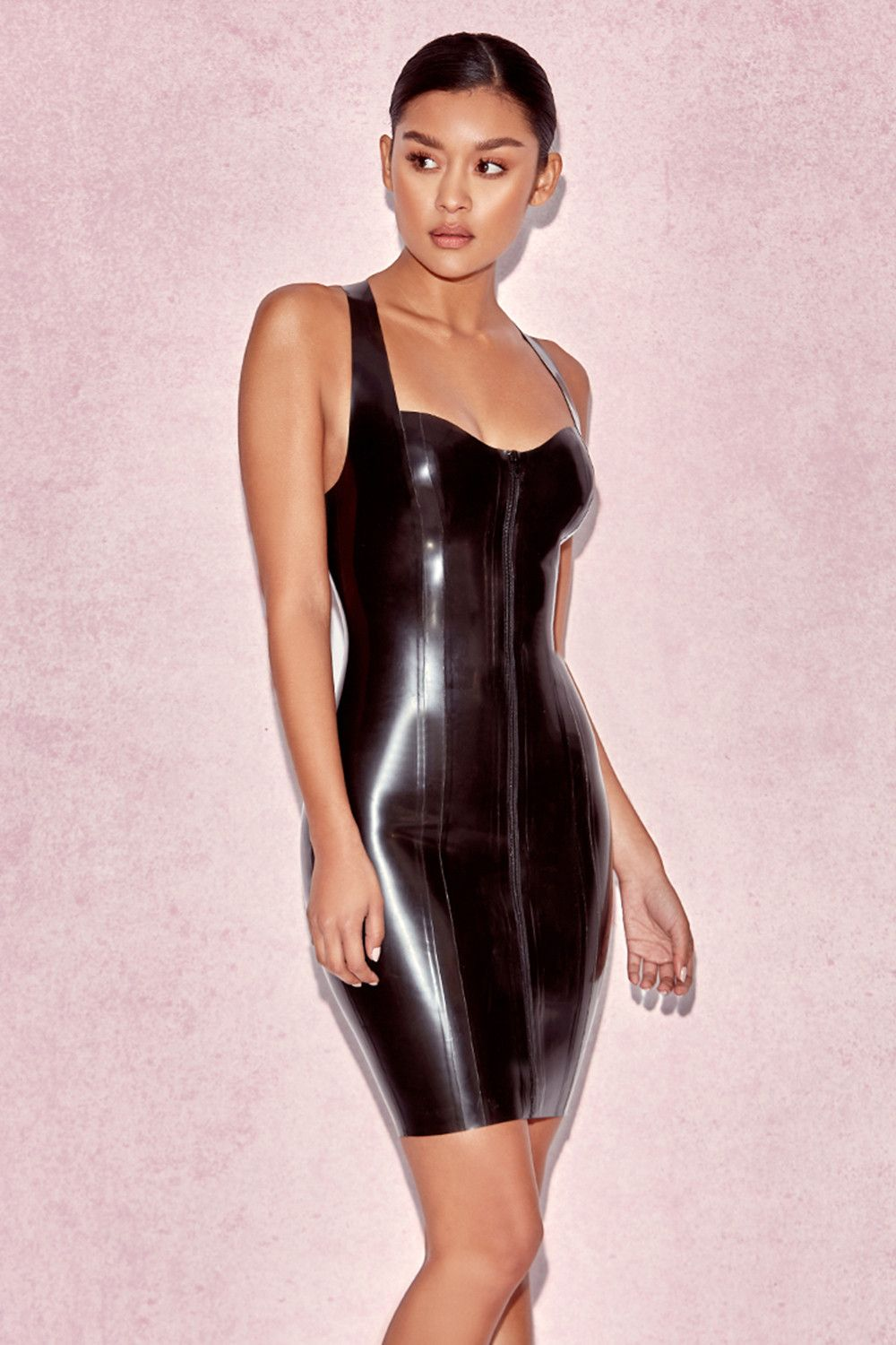 Tahira Black Latex Racer Back Dress | Date Night Outfit | Pinterest