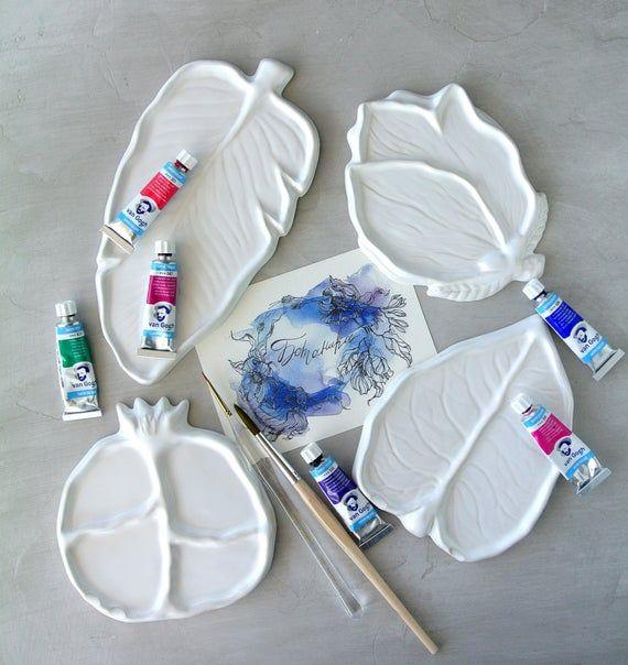 Ceramic Mixing Palette Magnolia For Watercolor Etsy Palette Art Ceramics Diy Ceramic