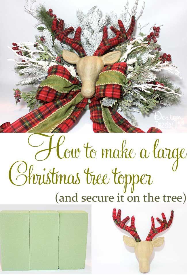 How To Make A Floral Deer Reindeer Head Christmas Tree Topper Centerpiece Christmas Tree Toppers Diy Christmas Tree Topper Large Christmas Tree