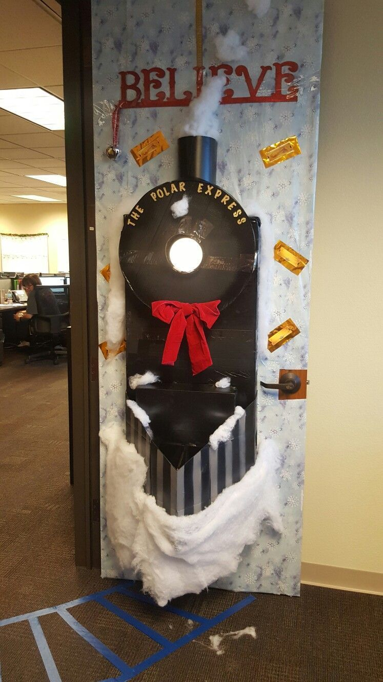 2016 Christmas Door Decoration Polar Express Christmas Party At #christmasdoordecorationsforschool