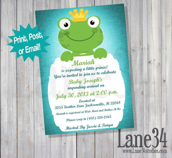 Frog Prince Baby Shower Invitation by Lane34Party on Etsy Boy baby