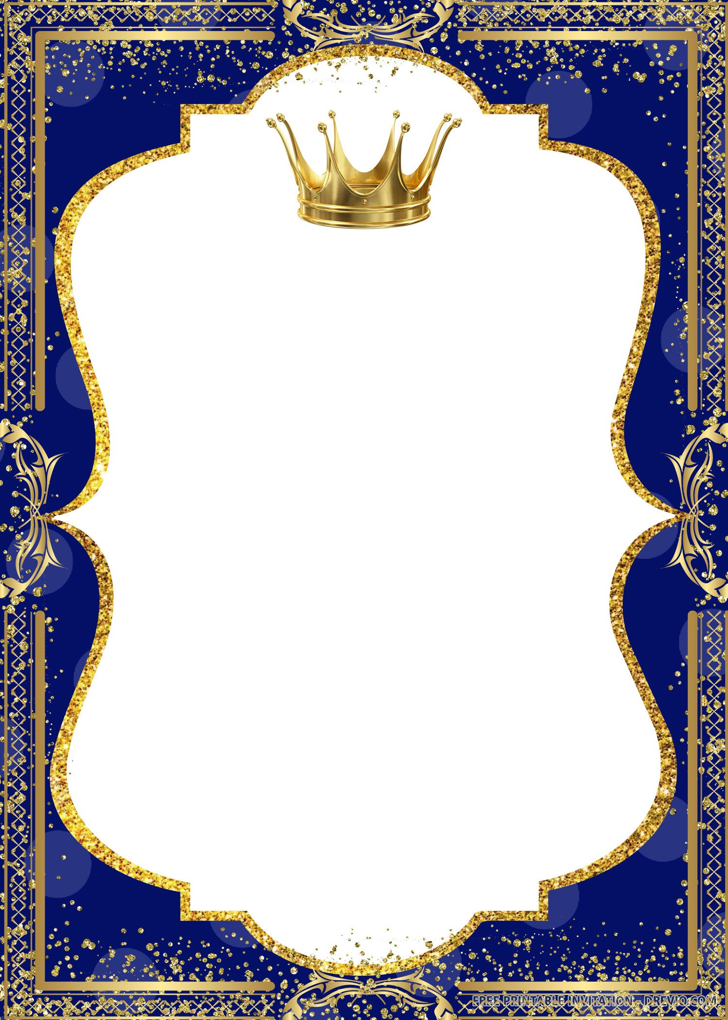 Free Printable Crown Prince Invitation Templates  DREVIO  Prince
