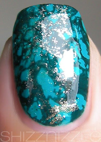 Waterspotted Turquoise Nails by airinantha on MUA  Icing Marine Blue Sally Hansen Xtreme Golden-I WnW Black Creme Seche Vite