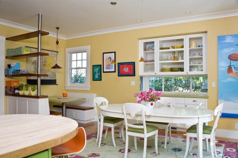 Dining Booth For Home Table Chairs White Cabinets Carpet Artwork Island  Benches Standing Shelf Pendants Ceiling