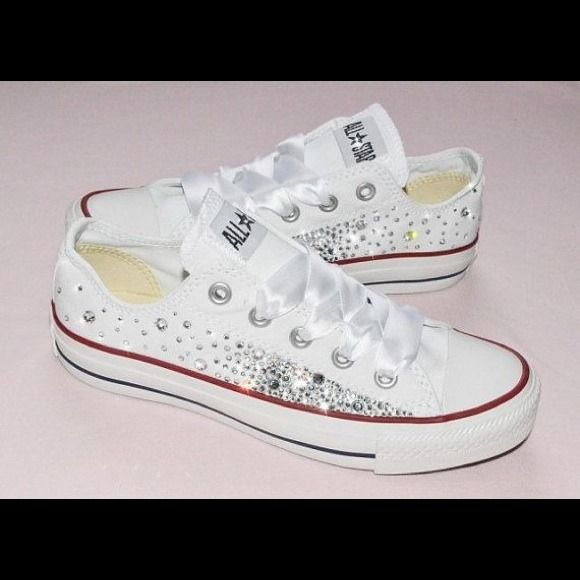 Blinged out convers custom made I make any size any color Converse Shoes 351630c529