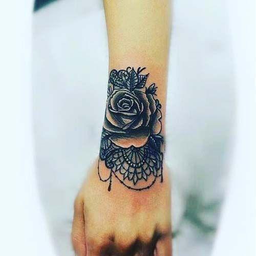 Kurt Bilek Dövmeleri Bayan Wolf Wrist Tattoos For Women: Dantelli Gül Bilek Dövmeleri Bayan Lace And Rose Wrist