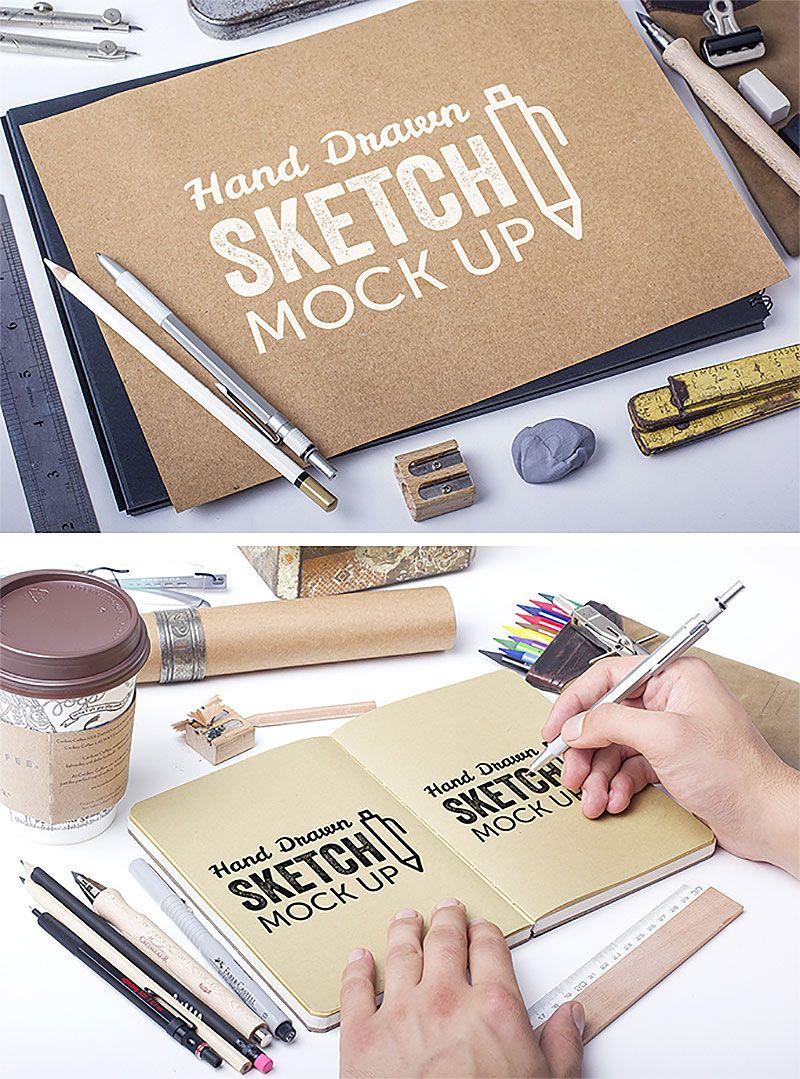 Free Hand Drawn Sketch Mockups Graphicsfuel How To Draw Hands Photoshop Mockup Free Free Mockup
