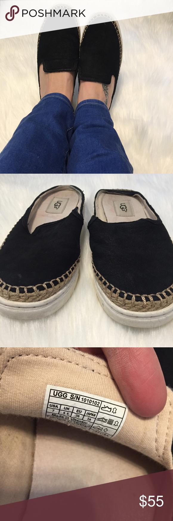 59264a95308 Ugg 7 Black Suede Caleel Slip On Sneaker Slides Ugg Women's 7 Black ...