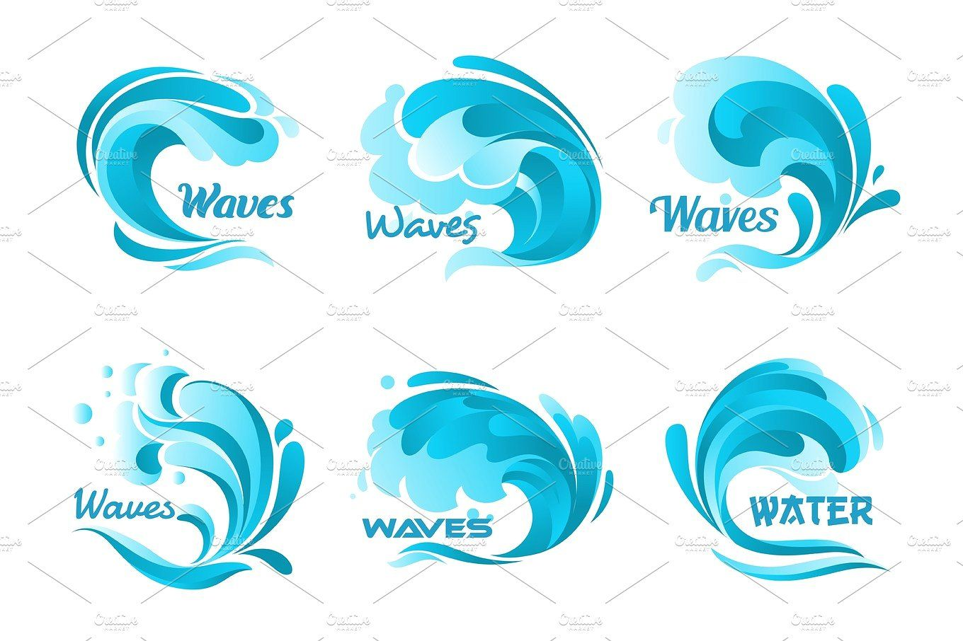 Water Splash Icons Vector Isolated Ocean Waves Ocean Waves Splash Waves