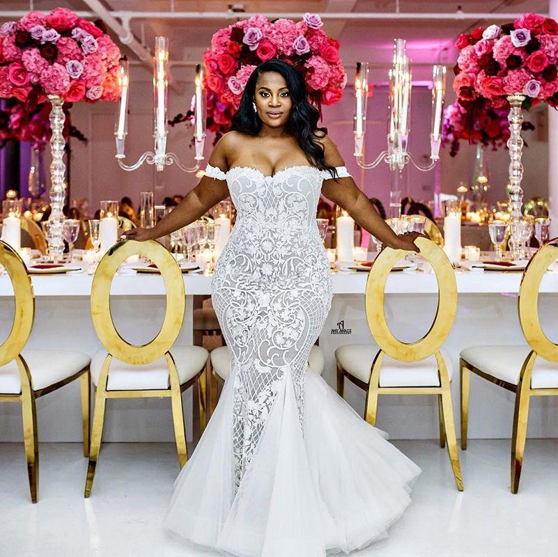 Mermaid wedding dresses 2018 modest plus size off shoulder