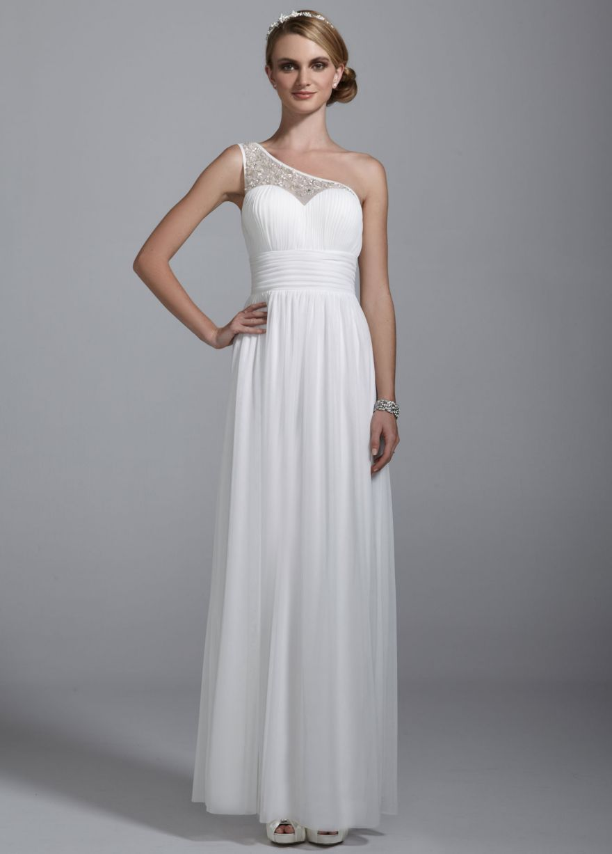 Illusion One Shoulder All Over Beaded Ruched Gown - David's Bridal - mobile