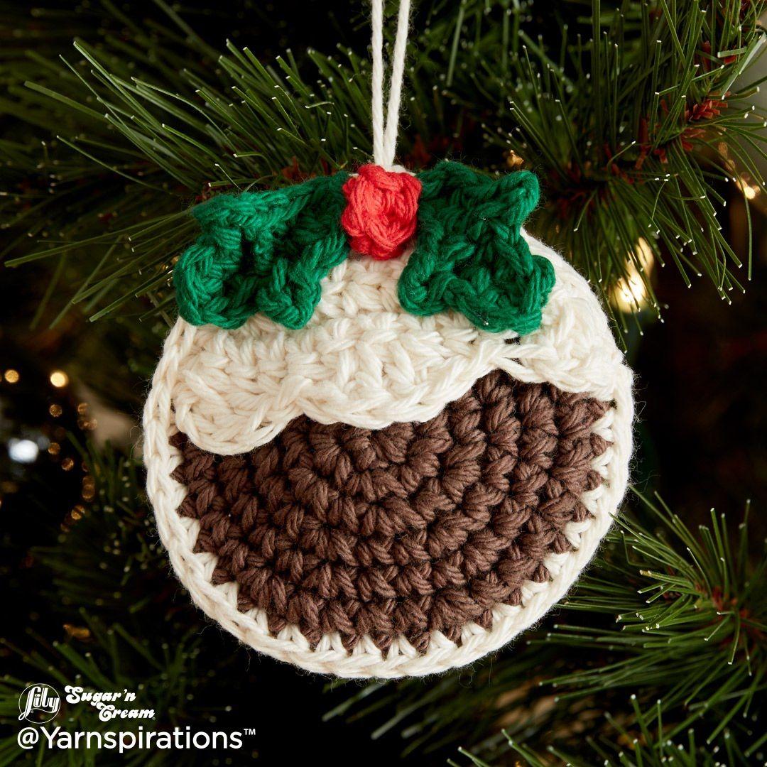 Plum Pudding Crochet Ornaments Free Pattern Yarnspirations Crochet Christmas Ornaments Free Crochet Ornaments Free Pattern Crochet Christmas Trees