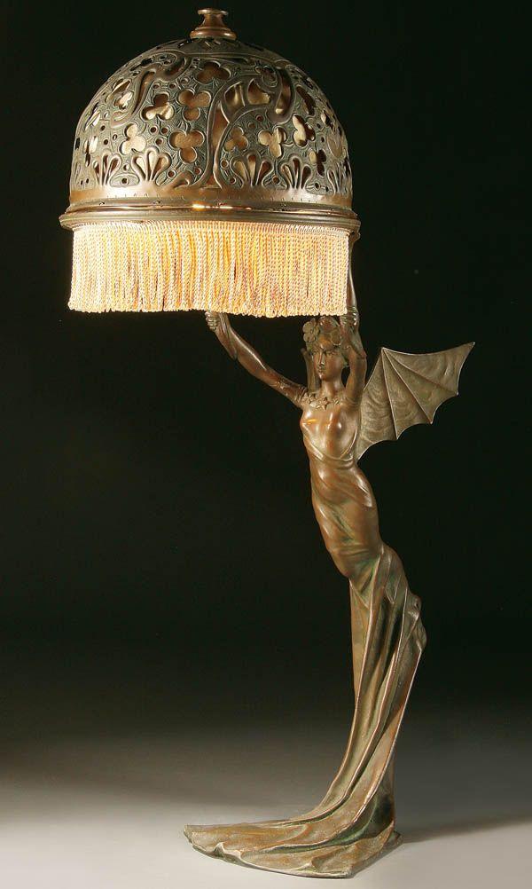 An Art Nouveau Bronzed Metal Figural Table Lamp Probably Austrian